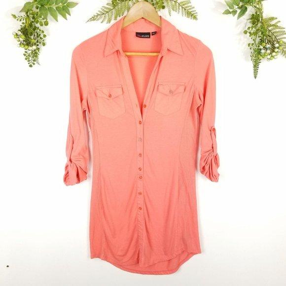 🌼ULTRA FLIRT《177》coral shirt dress sz M